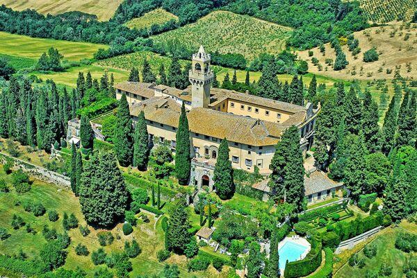 Montegufoni Castle aerial view